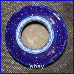 Palshus vase in chamotte clay w deep blue glaze, Danish mid-mod studio ceramic