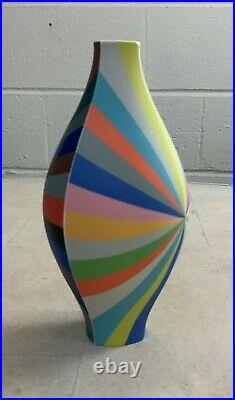 Peter Pincus Coloured Porcelain Vase Unique Piece, Signed