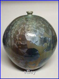Phil Morgan Pottery Crystalline Blue and Gold Round Vase 7.75 Signed