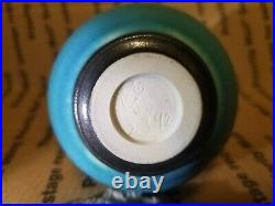 Phyliss Ihrman Original Studio Pottery Blue Weed Vase Pot Feelie Cabat Style