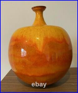 Pillin Pottery Polia William Vase Orange Bulbous Yellow MCM 1960s/70s Ball Round