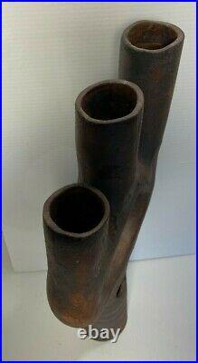 Raku Ikebana 23 Vase Modernist Studio Art Sculpture Pottery Sgnd Mid Century