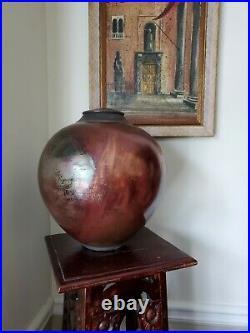 Raku Pottery Vase Lidded Urn Signed Dated 13