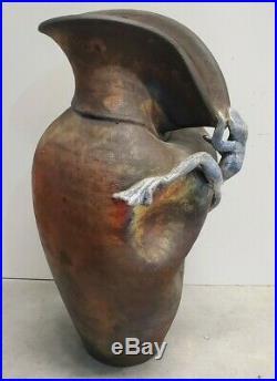 Raku Pottery Vase With Frog By Mitchell Grafton