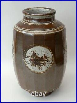 Rare British Art Studio Pottery Malcolm Pepper Stoneware Iron Brown Faceted Vase