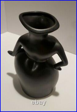 Rare Michael Lambert Pottery Whimsical Sassy Female Figure Black Vase Signed