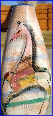 Rare! Polia Pillin Art Pottery 3 sided vase Horses Mid-Century Modern