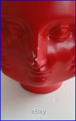 Rare Red TMS 2005 Vitruvian Dora Maar Perpetual Face Sculpture Vase Planter