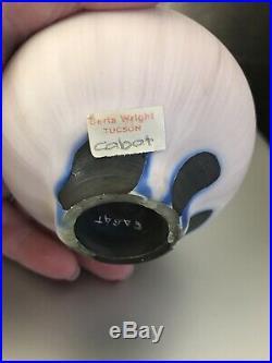 Rare Rose Cabat Studio Art Pottery Feelie Vase Signed Cream Purple Blue