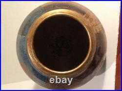 Rare Signed Bernard Forrester Large Geometric Vase Multi color + gold
