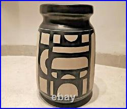 Rare Vtg Lapid Israel MID Century Big Vase Ceramic Pottery Handpainted 11' 60's