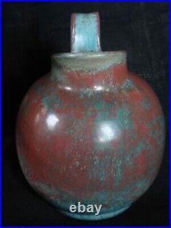 Rare crackleware pitcher by Michael Andersen, Danish studio ceramic