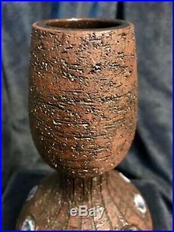 Retro Brutalist Brown Ceramic Art Pottery Vase Pot Vessel Jug 9.25 Signed