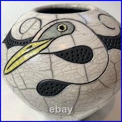 Robin Rodgers Signed American Studio Raku Art Pottery White Egret Bowl Vase 2001