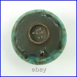 Rose Cabat studio pottery feelie vase mid century modern ceramics turquoise drip
