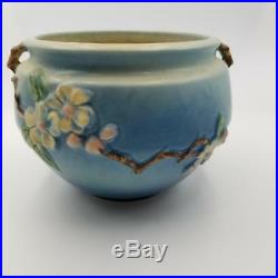 Roseville Flower Art Pottery Aqua Blue Apple Blossom Pattern Planter Vase 300-4