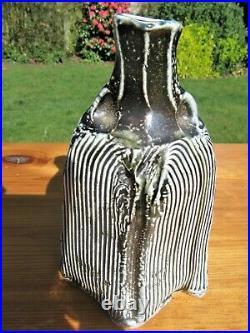 Ruthanne Tudball Blue Stoneware Soda Glazed Altered And Twisted Vase