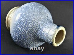 STEVE HARRISON British Studio Art Pottery Blue Salt-glazed Signed Vase