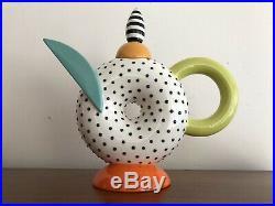 STUNNING Michael Duvall Glazed Postmodern Memphis Art Pottery TEAPOT Signed