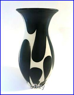 Sam Scott NW Studio Art Pottery Vase Black Matte Glaze on White Porcelain