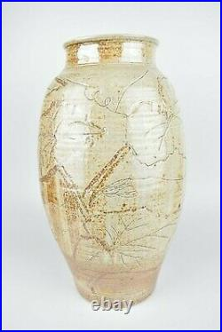 Sarah Walton A Monumental Salt Glaze Vase with Incised Foliate Decoration