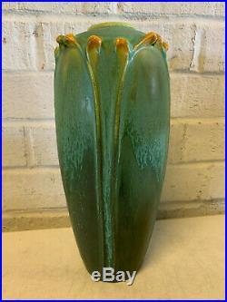 Scott Draves Door Pottery Arts & Crafts Style Green Art Pottery Vase Floral Dec