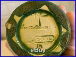 Scott Draves Door Pottery Arts & Crafts Style Green Art Pottery Vase Ginkgo Leaf
