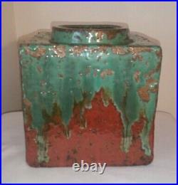 Sculpted Pottery Vase Pressed Molded Square Cube Bottle Vase