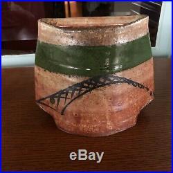 Sequoia Miller Studio Pottery Stoneware Vase Shino Fish Seattle