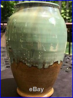 Shearwater Pottery High Glaze Vase Mottled Green & Tan-Impressed Mark