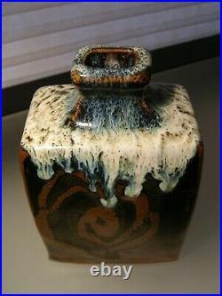 Shoji Hamada Style Bottle Vase Japanese Studio Mid Century Pottery Marked