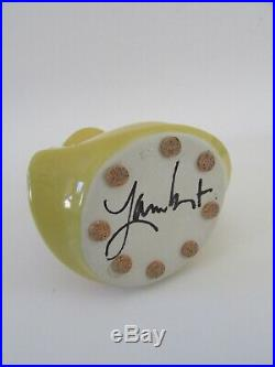 Signed 80's Michael Lambert California Studio Art Pottery Java Jig Yellow Vase