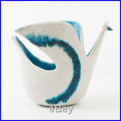 Signed Original Guido Gambone Ceramic Bird Vase Blue & White 10.5 L