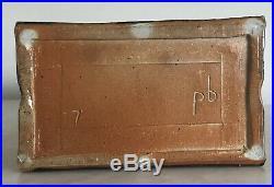Signed PB Mid Century Studio Art Pottery William Wyman Paul Evans Era Slab Vase
