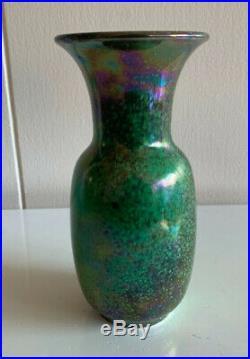 Signed dated 1923 high fired Ruskin pottery vase mottled green souffle glaze