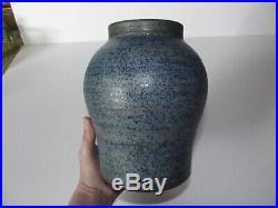 Studio Art Pottery 7-3/8 VASE, Denis Vibert Pine Tree Kilns Maine Blue speckle