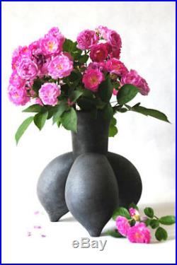 Studio Art Pottery Black Ceramic Raku Vase Unique