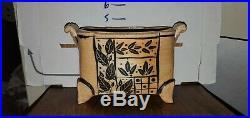 Studio Pottery Footed Japanese Style Bonsai Rectangular Vase Planter Pair (2)
