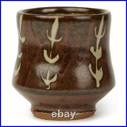 Studio Pottery Stoneware Tenmoku & Wax Resist Design Vase