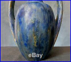 Superb Very Rare Pierrefonds Twin Handled Crystalline Glazed Vase