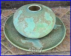 TONY EVANS Studio Hand Crafted Pottery RAKU Vase & Under Plate Signed 1975