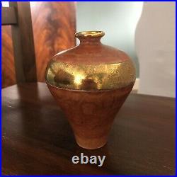 TONY LAVERICK 12cm Vase Studio Pottery Hand Decorated Marbled Gilded Lustre