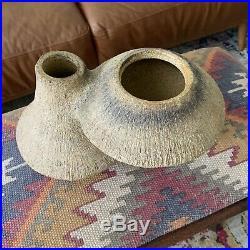 TOYO RARE volcano stone double flower vase/Pot MCM Ikebana Era Japan moderism