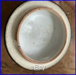 Thomas Constance Clarkson Studio Pottery Jar Vase Lid Blue Stoneware Ash Glazed