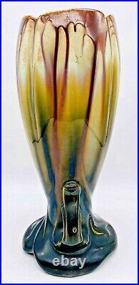 Thulin Studio Art Pottery Vase Made in Belgium Drip Art Nouveau Deco Antique