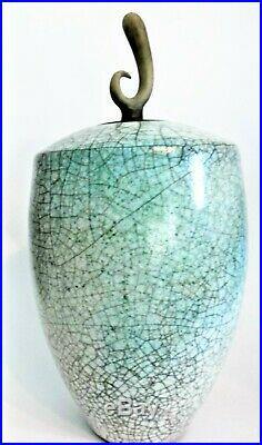 Tim Andrews raku glazed vase and cover 30cm tall