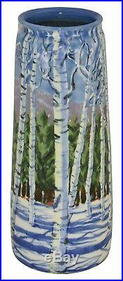 Tim Eberhardt Pottery Scenic Winter Forest And Mountains Vase