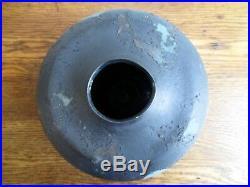 Tony Evans Large Black and Blue Brutalist Raku Vase 1970s California Pottery