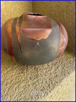Tony Evans Large Raku Vase & Matching Plate Signed And Numbered