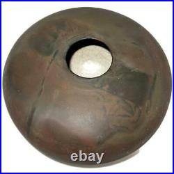Tony Evans Raku 211 Art Pottery Vase 12 Across Black & Brown Matte Finish
